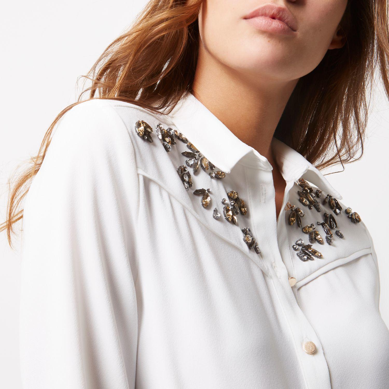 White embellished shirt, River Island